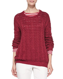 Vince Crewneck Mercerized Chunky-Knit Pullover & Long-Sleeve Tee W/ Mixed Stripes
