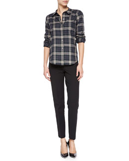 Theory Perfect Plaid Improvise Button-Down Shirt & Belisa Slim Cropped Twill Pants