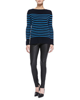 Vince Cashmere Ribbed Striped Sweater & Smooth Leather Leggings
