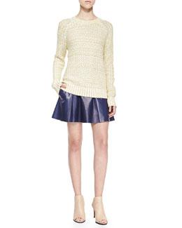 Vince Mixed-Knit Rib-Trim Sweater & Drop-Yoke Pleated Leather Skirt