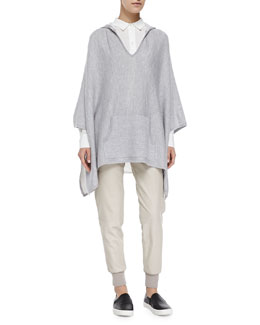 Vince Double-Face-Knit Hooded Poncho, Silk/Linen Combo Blouse & Knit-Cuff Leather Jogging Trousers