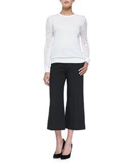 Theory Vessra Exhibit Top W/ Lace Sleeves & Inza Modern Suit Pants