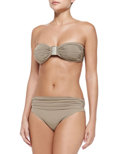 Exotic Illusion Bandeau Swim Top & Ruched Swim Bottom