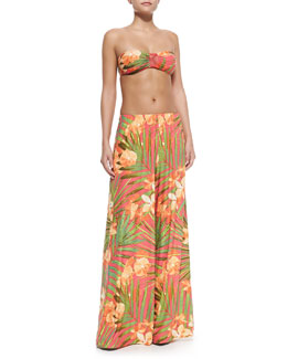 Tropical Fantasy Bandeau Swim Top, Mesh-Side Hipster Swim Bottom & Tropical Fantasy Coverup Pants