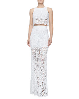 Rosi Crochet Boxy Cropped Tank & Celine Fitted Crochet Maxi Skirt