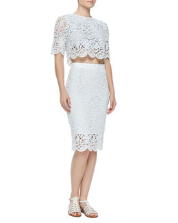 Lou Boxy Crochet Crop Top & Scarlett Crochet Pencil Skirt
