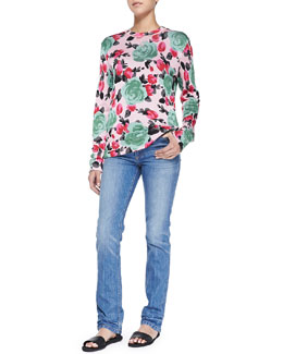 Jerrie Rose Printed Crewneck Sweater & Drainpipe Faded Slim Denim Jeans