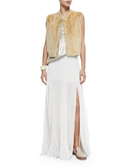 Snap-Front Mink Fur Vest, Lamé Scoop-Neck Tank & Pleated Pull-On Maxi Skirt