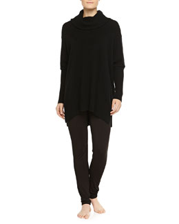 Cashmere-Blend Long-Sleeve Poncho & Liquid Jersey Leggings