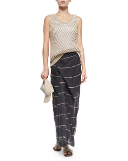 Chain and Jute Baseball Cap, Open-Weave Jersey Tank & Striped Silk Sarong Skirt