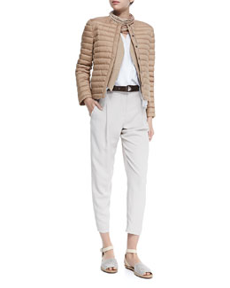 Puffer Jacket with Monili Placket, Open-Front Jute Vest W/ Fringe, Sleeveless Layered-Hem V-Neck Top, Multi-Strand Leather Necklace, Loop-Close Textured Leather Belt & Cropped Pants with Zip Hem
