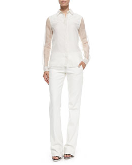 Silk/Lace Combo Shirt & Cotton Twill Boot-Cut Trousers