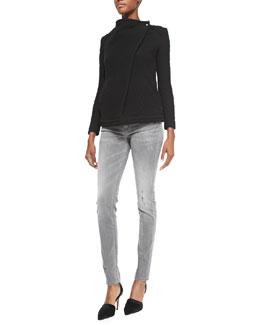 Heddi Patterned Knit Jacket, Ornela Sequin/Sheer Striped Top & Night Slightly Distressed Denim Jeans
