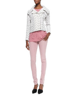 Otavia Triangle-Pattern Quilted Jacket, Clay Holy Linen-Slub Tee & Narkyce Fitted Denim Slim Jeans