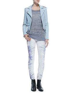 Ashville Zip-Front Moto Jacket, Yana Boat-Neck Sweater W/ Slashed Sleeves & Nedira Splash-Print Skinny Jeans