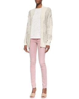 Yolane Mixed-Knit Cardigan, Clay Long Holey Slub Tee & Narkyce Fitted Denim Slim Jeans