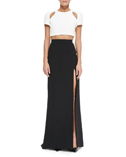 Short-Sleeve Crop Top with Cutouts & Long Skirt with High Slit