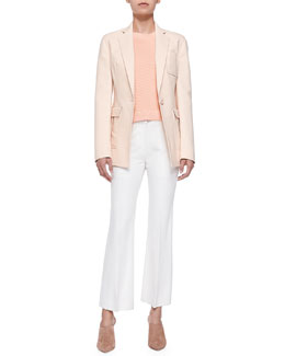 Cutaway Blazer w/ Pockets, Sleeveless Rib-Stitched Pullover & Cropped Flared Pants