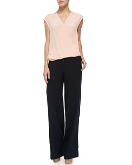Cap-Sleeve Draped Tucked-In Shell & Wide-Leg Wool Pants W/ Drawstring