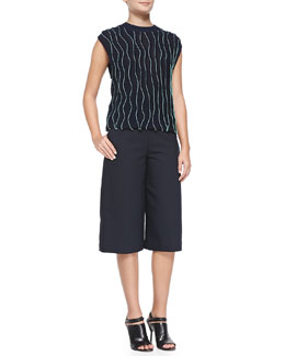 Sleeveless Thread-Wave Pullover Sweater & Topstitched High-Waist Culottes