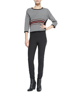 Rag & Bone Dawn 3/4-Sleeve Striped Pullover & Chatel Skinny Side-Zip Pants