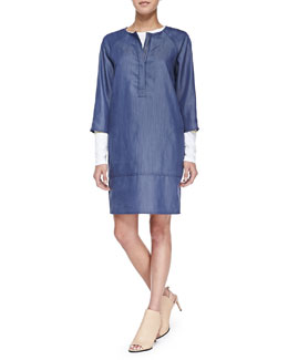 Vince Long-Sleeve Tee W/ Marker Stripes & Draped Denim Shift Dress