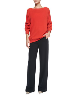 Vince Cashmere Boat-Neck Oversize Sweater & Sailor-Button Wide-Leg Pants