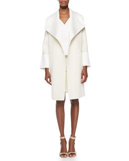 Oversized Collar Coat, V-Neck Double-Layer Shell & A-Line Skirt with Front Snaps