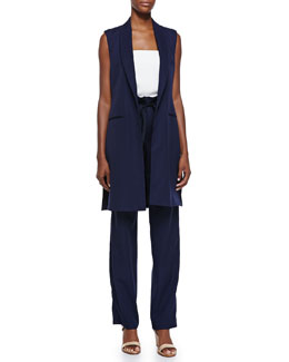Long Shawl-Collar Vest, Strapless Bustier Top & Wool Paperbag-Waist Pants