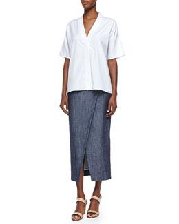 Trapunto Envelope-Collar Shirt & Long Wrap Skirt W/ Scissor Hem