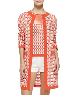 Missoni Long Floral-Weave Cardigan & Short-Sleeve Tee with Striped Top