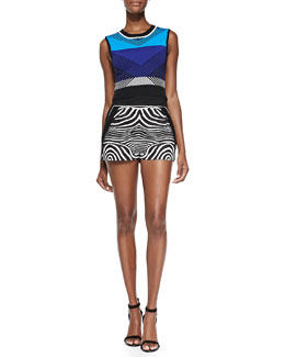 Chevron-Pattern Knit Crop Top & Zebra-Print/Solid Resort Shorts