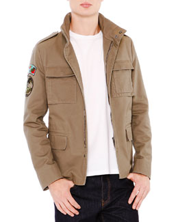 Field Jacket with Camo Lining & Dark Clean-Wash Denim Jeans