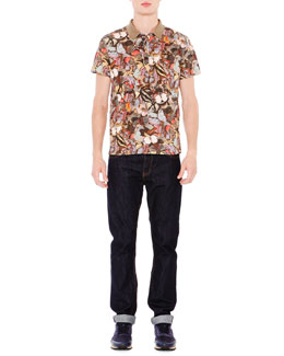 Multi-Butterfly Print Short-Sleeve Polo Shirt & Dark Clean-Wash Denim Jeans
