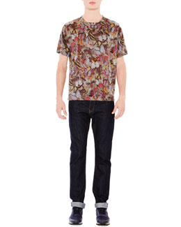 Multi-Butterfly Print T-Shirt & Dark Clean-Wash Denim Jeans