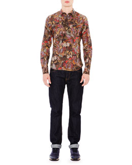 Multi Butterfly-Print Long Sleeve Shirt & Dark Clean-Wash Denim Jeans