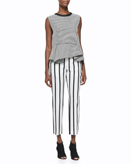 Christopher Ruffle-Hem Jacquard Top & Malick Striped Tapered Pants