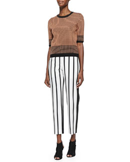 Christopher Grid-Print Knit Sweater & Malick Striped Tapered Pants