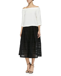 Arden Crepe Off-the-Shoulder Top & Ribbon Organza Pleated Midi Skirt