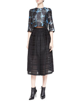 Windowpane Flowers Cropped Top & Ribbon Organza Pleated Midi Skirt