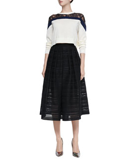 Chantilly Lace Cropped Sweater & Ribbon Organza Pleated Midi Skirt