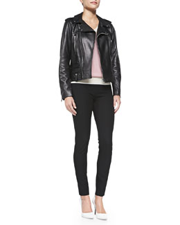 Ryder Leather Moto Jacket, Contrast-Trimmed V-Neck Sweater & Gabardine Tapered Leggings