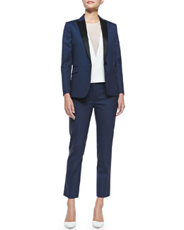 Savy Two-Tone Wool-Crepe Blazer, Fan Sheer-Inset Sleeveless Blouse & Savvy Wool Suiting Pants