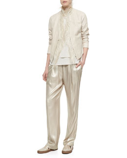 Feather-Trimmed Leather Tux Jacket, Layered Silk Crepe Tank, Metallic Pleated Wide-Leg Pants & Riverstone Multi-Strand Necklace