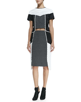 Diamond Colorblocked Crop Top & Side-Layered Diamond Pencil Skirt