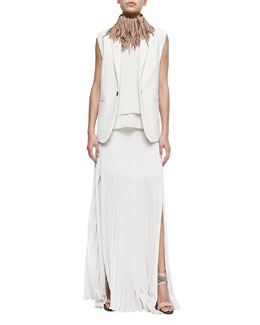 Clean Canvas Snap-Button Vest, Layered Silk Crepe Tank & Pleated Pull-On Maxi Skirt