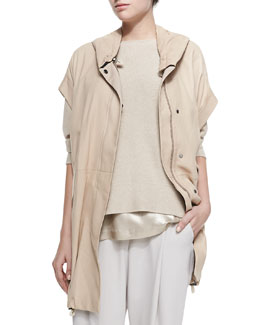 Leather Anorak Vest with Hood, Cashmere 3/4-Sleeve Reversible Sweater, Lamé Scoop-Neck Tank & Cropped Pants with Zip Hem