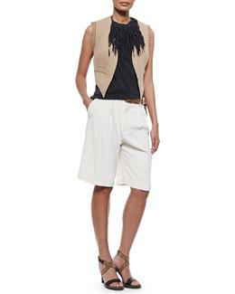 Open-Front Jute Vest w/ Fringe, Fringe-Collar Tank Top, Belted Crepe Walking Shorts & Metallic Leather Belt