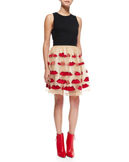 Alice + Olivia Sleeveless Pire Mesh Crop Top & Pout Pouf A-Line Skirt