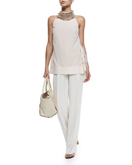 Strapped Tank W/ Ostrich Feather Sides & Wide-Leg Pleated Crepe Pants